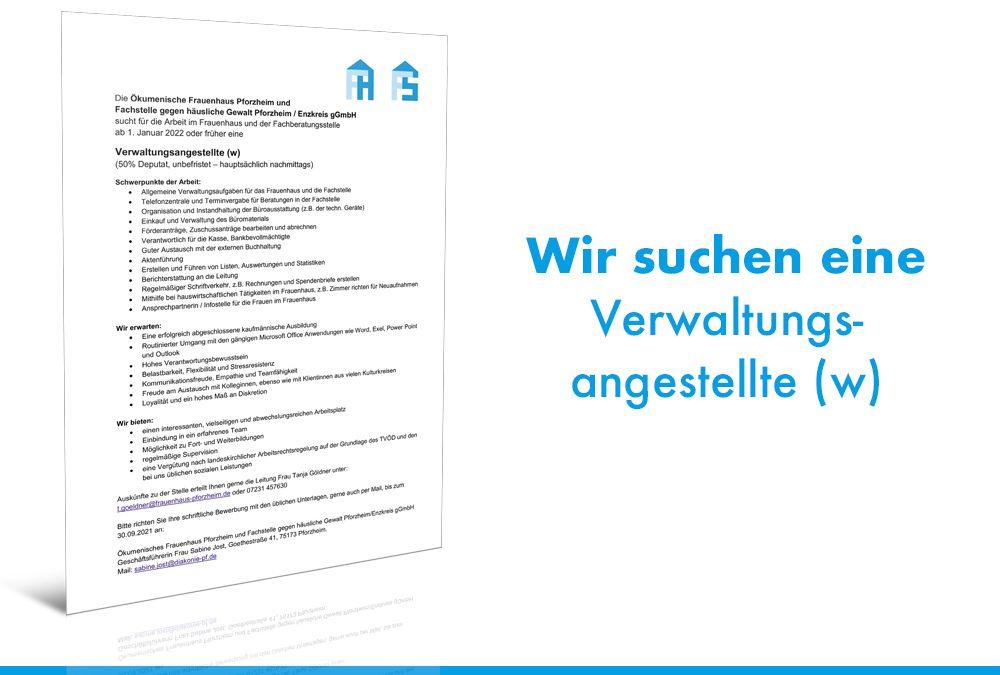 Stellenausschreibung – Verwaltungsangestellte (w)